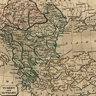 Turkey Hungary Greece Hungary Black Sea Servia 1821 old engraved hand color map