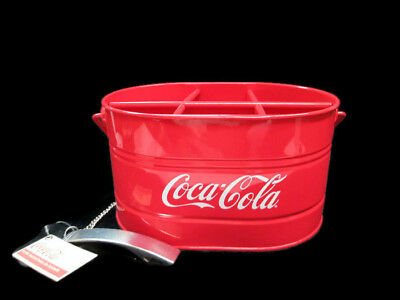 Coca-Cola Red Metal Picnic Tool Condiment Bottle Caddy Carrier Bucket  NEW