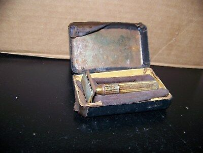 Vintage Gillette Gold 3 Piece Double Edge Safety Razor - Made in USA - With Case