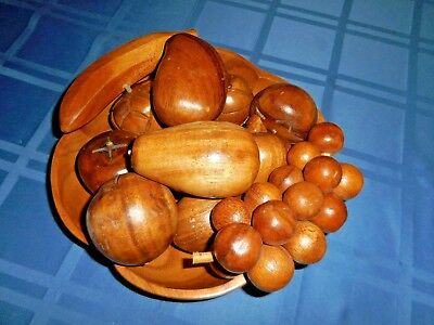 Vtg 13 Piece Monkey Pod Carved Wood and Fruit Bowl Leilani Philippines