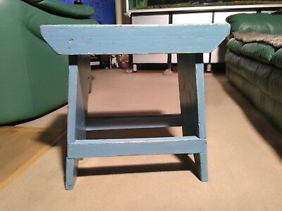 Vintage shabby chic wooden stool 47cm high