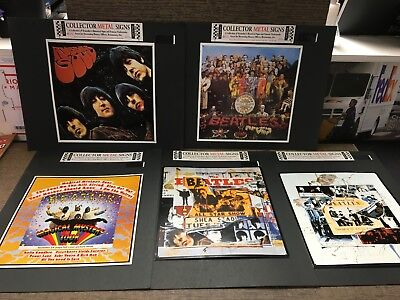 Lot of 5 Retro The Beatles Collector Metal Signs Cavern Club Shea Rubber Soul