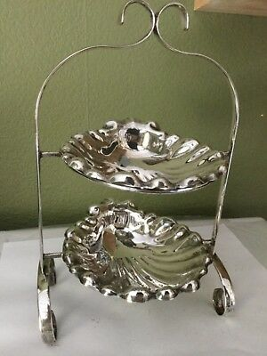 Vintage Two Tiered Candy Dish/electroplated Silver On Copper