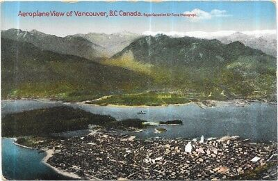1937 Postmark Airplane View of Vancouver, B.C. Canada.