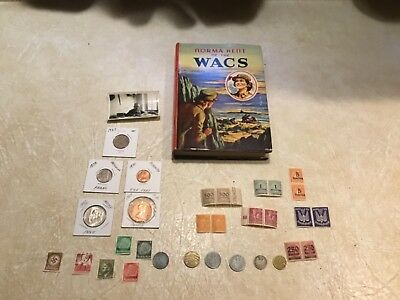 BOOK WW2  WACS 1943 Swastika 1941 1937 coin WW2 20 Unc Stamp Hitler Swastika Lot
