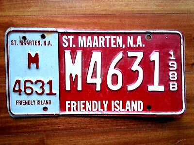ST MAARTEN License Plate Tag- 1988 passenger car. -  LOW SHIPPING