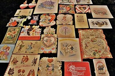 Vintage Lot 27 Valentine Cards Greeting Cards Christmas Birthday Dogs Horses