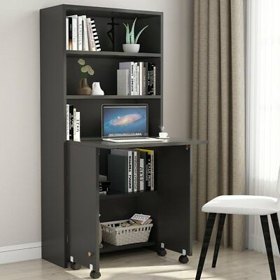 Folding Computer Desk with Shelves and Fold Out Storage Cabinet for Home Office