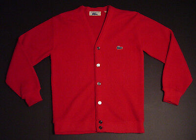 Vintage Chemise Lacoste Boys Sweater Cardigan Red Sz 18 Button Front Long Sleeve