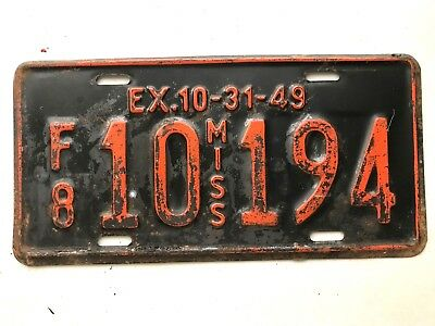 1949 Mississippi License Plate truck F/8 10 194