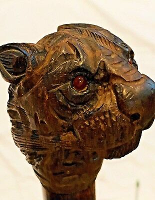 SALE Antique German Black Forest Carved Lion Head Umbrella w/Bakelite