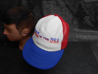 Old Vtg BORN WORN IN THE USA Men's HAT Truckers Cap Foam Snapback Advertising