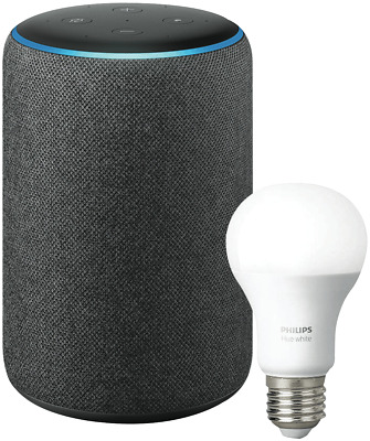 NEW Amazon B0794ZB61K-E27 Echo Plus (2nd Gen) & Philips Hue Bulb E27 - Charcoal