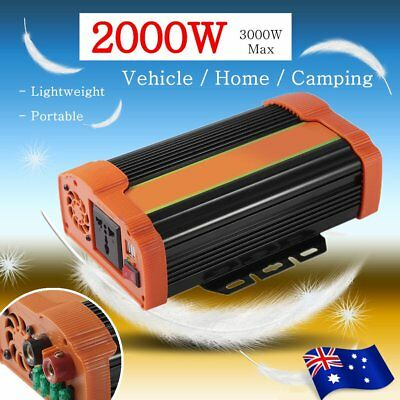 2000W (3000W Max) Power Inverter Car DC 12V to 240V AC Converter w/ USB Charger
