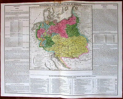 Germany Austria Poland Prussia Congress Vienna c.1820 Carey historical large map
