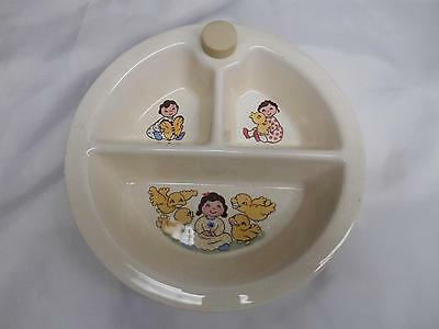 Old Vtg Mid-Century Stoneware BABY FEEDING DISH Child's Children 3 Compartments