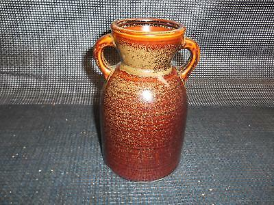 Old Vtg HOSLEY POTTERIES VASE Crock Brown Glazed 2-Handle Pottery Stoneware