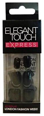 ELEGANT TOUCH EXPRESS False Nails -3 Minute Manicure Polished Black-24 Pre Glued