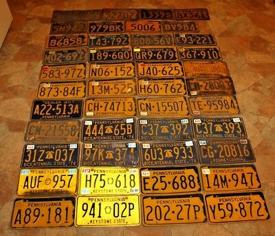Lot of 44 USA Pennsylvania PA State Licenses Plates 1924-1992