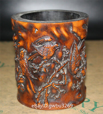 Asian Old Chinese Bamboo Pen holder Hand Carved Bird and Tree  Brush Pot
