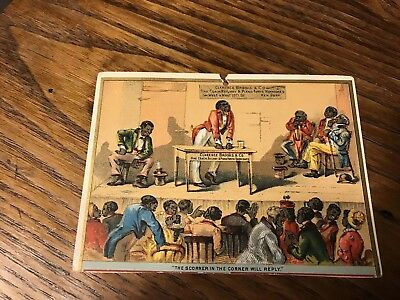 ANTIQUE BLACK AMERICANA TRADE CARD 1880's CLARENCE BROOKS VARNISHES