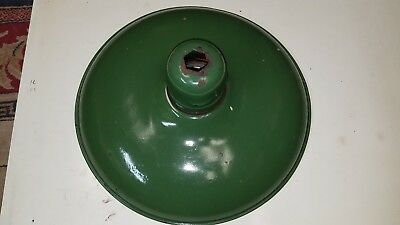 "Vintage 16""   Green Enamel Porcelain Light Shade Industrial Barn"