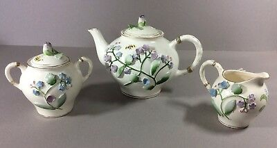 Vintage Ceramic Teapot, Creamer And Sugar Raised Flowers With Butterflies