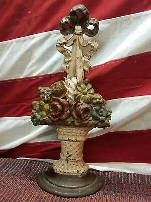 """Antique Cast Iron 16"""" Flower Basket with Bow Ribbon Painted DOORSTOP 9 Lb Hubley"""