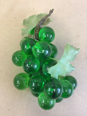 "Vintage MCM Green Lucite Grapes Cluster w/ Green Plastic Leaves 9""  H"