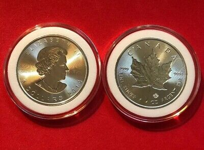 "2019 Canadian Silver Maple Leaf Double ""Incuse"" Design Gem BU $5 Coin In Capsule"