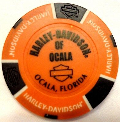 Harley Poker Chip   OCALA HD  OCALA, FL   ORANGE & BLACK  OUT of Business