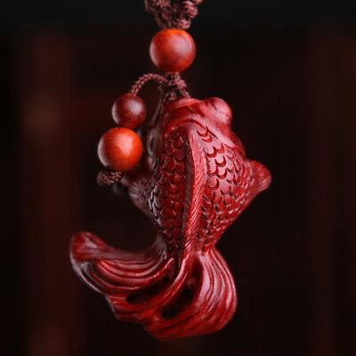 Precious Red Sandalwood Wood Hand Carving Chinese Goldfish Statue Key Chain