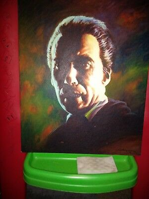 Horror! Christopher Lee as Dracula original oil painting by artist Don Marquez