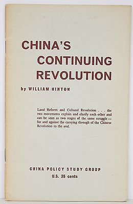 China's Continuing Revolution - Hinton - Vintage Political Pamphlet Communism