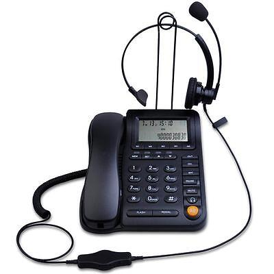 KerLiTar P017B Call Center Home Office Corded Phone and Headset with Caller ID