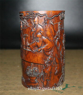 Asian Old Chinese Bamboo Pen holder Hand Carved the Eight Immortals Brush Pot