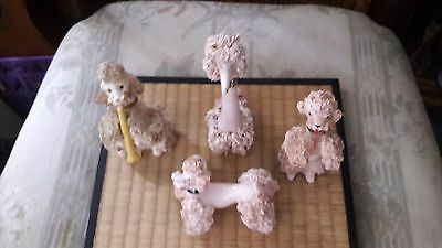 Vintage Set Spaghetti Poodle Figurines -White L/E Playing horn/ 3 Pink-Amazing