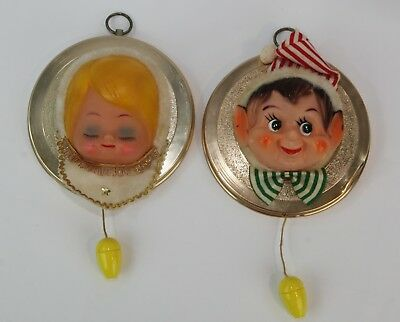 Vintage 50s Christmas Decor Musical Pixy A Sounder Elf & Angel Music Box w/Boxes