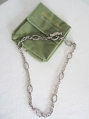 """Judith Ripka 925 Sterling Silver Oval Link 18"""" CZ Toggle Necklace  DS"""