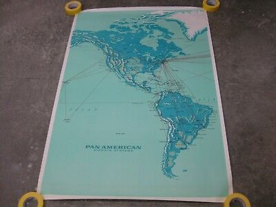 """2 maps 40""""x 58.5"""" PAN-AM Vintage Flight Maps in very good condition"""