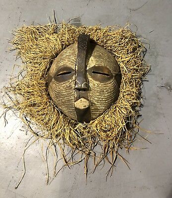 Authentic Vintage LARGE Original African BALUBA Republic CONGO Tribal MASK Art