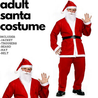 CLEARANCE Men's Christmas Santa Suit Party Cos Fancy Costume Xmas Outfit