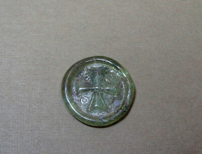 ANCIENT GLASS MEDALLION CROSS SIGN BYZANTINE 400-600 AD * Holiday reduced prices
