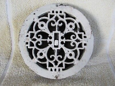 Aesthetic Movement Style Round Cast Iron Grille Heat Grate Register w Louvers