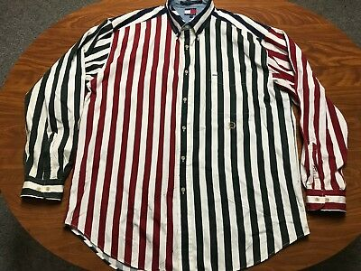 e87b34594 Mens Vintage Tommy Hilfiger Color Block Striped Long Sleeve Button Up Shirt  Xl