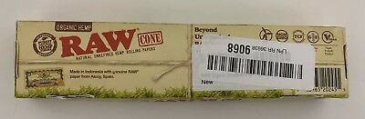 RAW Organic Unrefined Pre-Rolled Cone 32 Pack 1 1/4 Size - Open box, Box damaged
