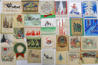 """Vintage 1920's & 30""""s Christmas Cards Used Lot of 28"""