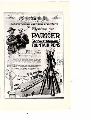 ad 1910's Parker Safety Sealed Fountain PEN Army Soldier WWI Letter Home