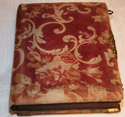 Vtg Antique PHOTO ALBUM w/ 58 Pictures Men Women Children Tintype