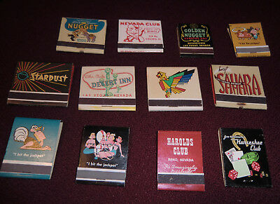 13 Vintage Matchbook covers form Various Las Vegas and Reno Casino Hotels